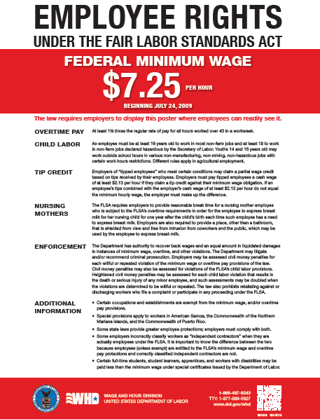 Federal Minimum Wage and Fair Labor Standards Poster